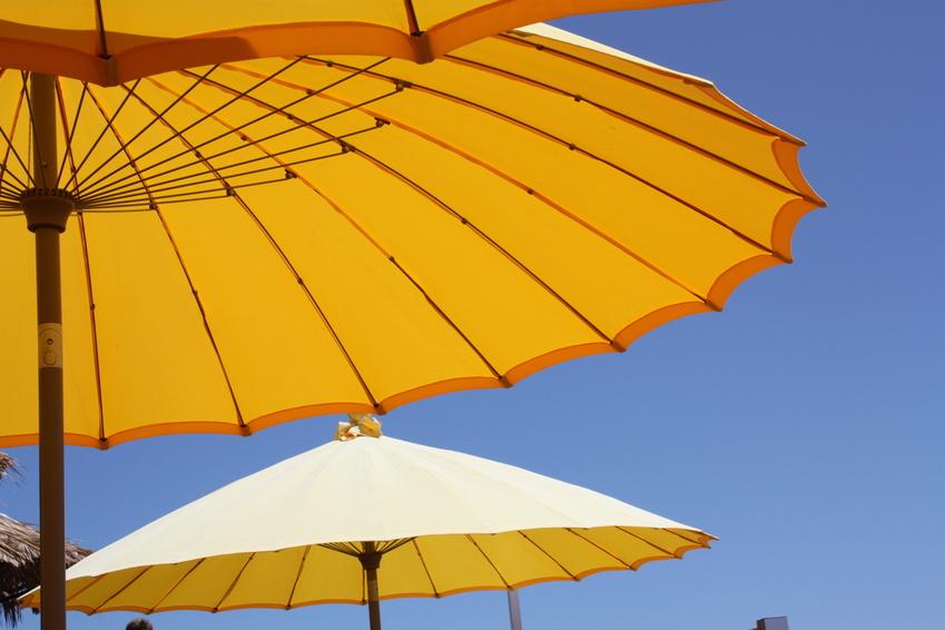 Gelbe Sonnenschirme